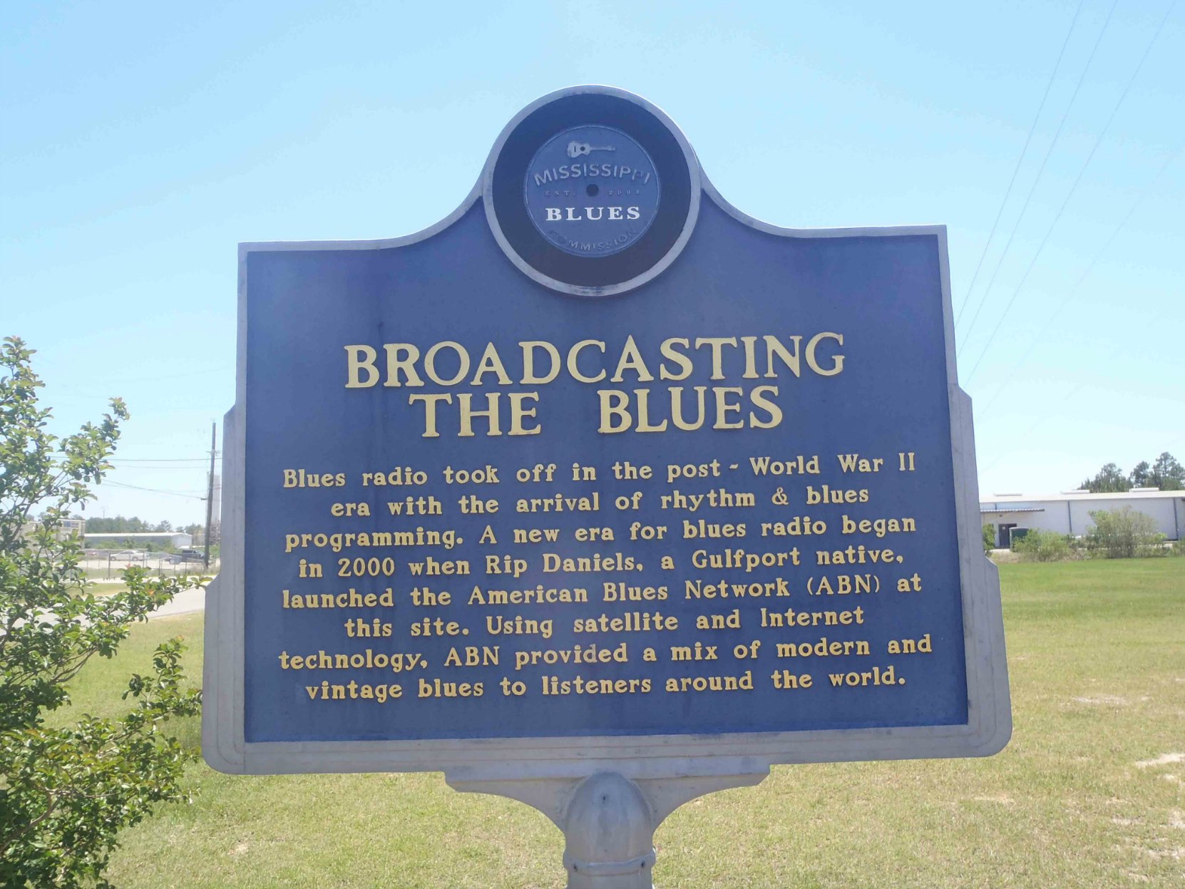 Mississippi Blues Trail marker for Broadcasting The Blues, Gulfport, Mississippi.