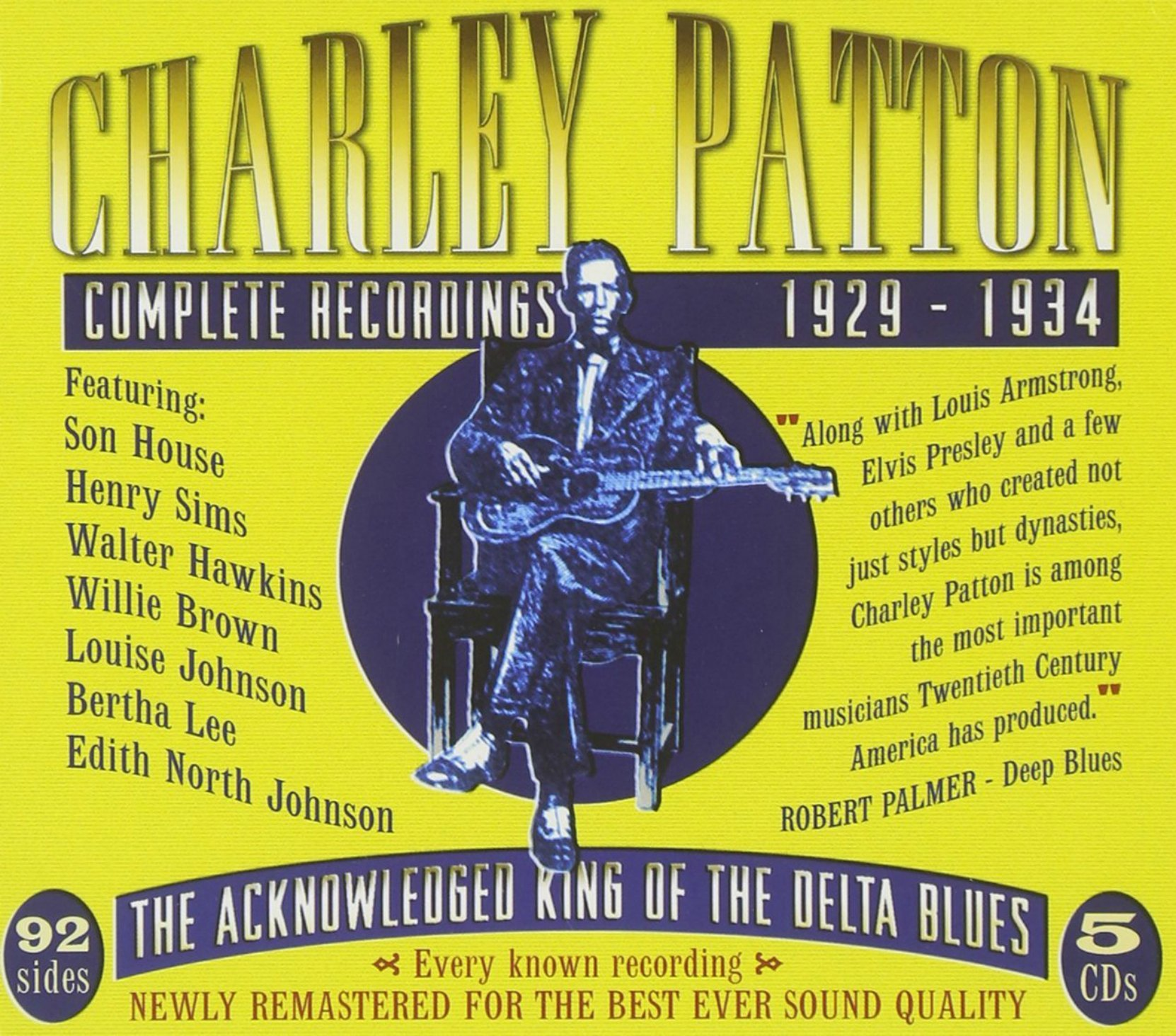 CD cover, Charley Patton Complete Recordings 1929-1934, a 5 CD box set on JSP Records