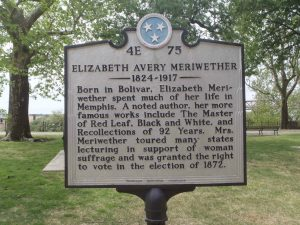 Tennessee Historical Commission marker for Elizabeth Avery Meriwether, Memphis, Tennessee
