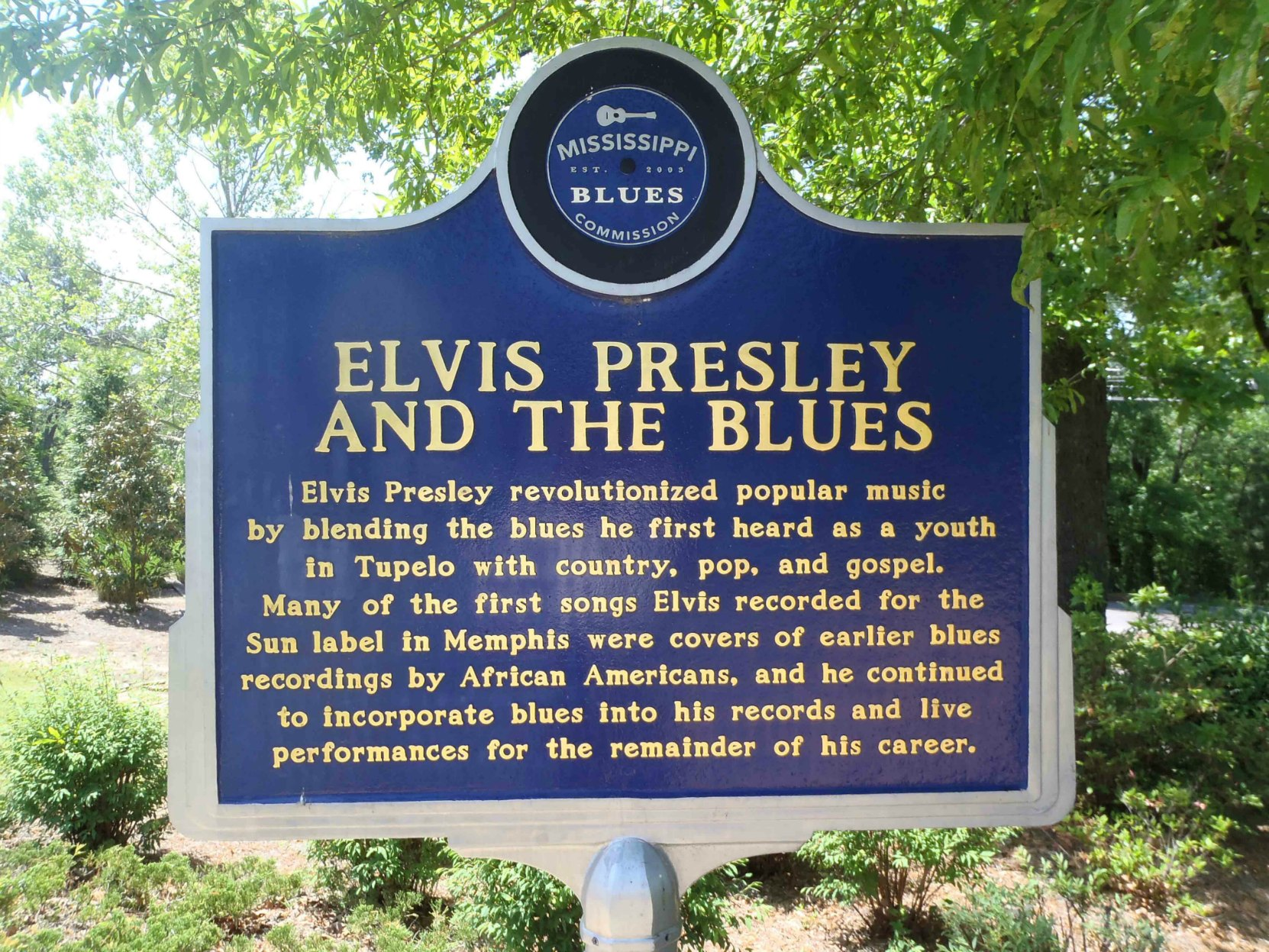 Mississippi Blues Trail marker for Elvis Presley And The Blues, Elvis Presley Birthplace Museum, Tupelo, Mississippi