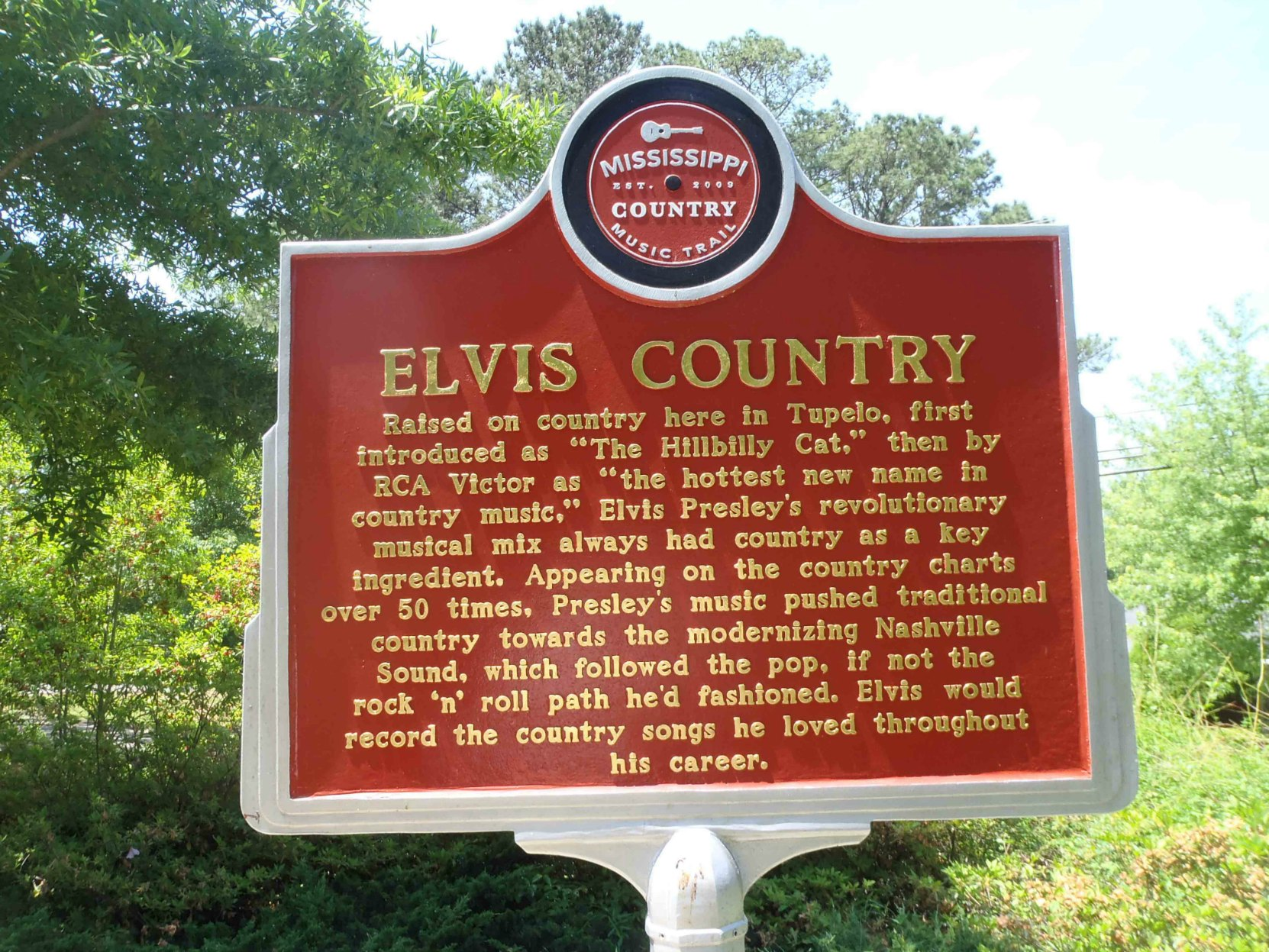 Mississippi Country Music Trail marker for Elvis Country, Elvis Presley Birthplace Museum, Tupelo, Mississippi