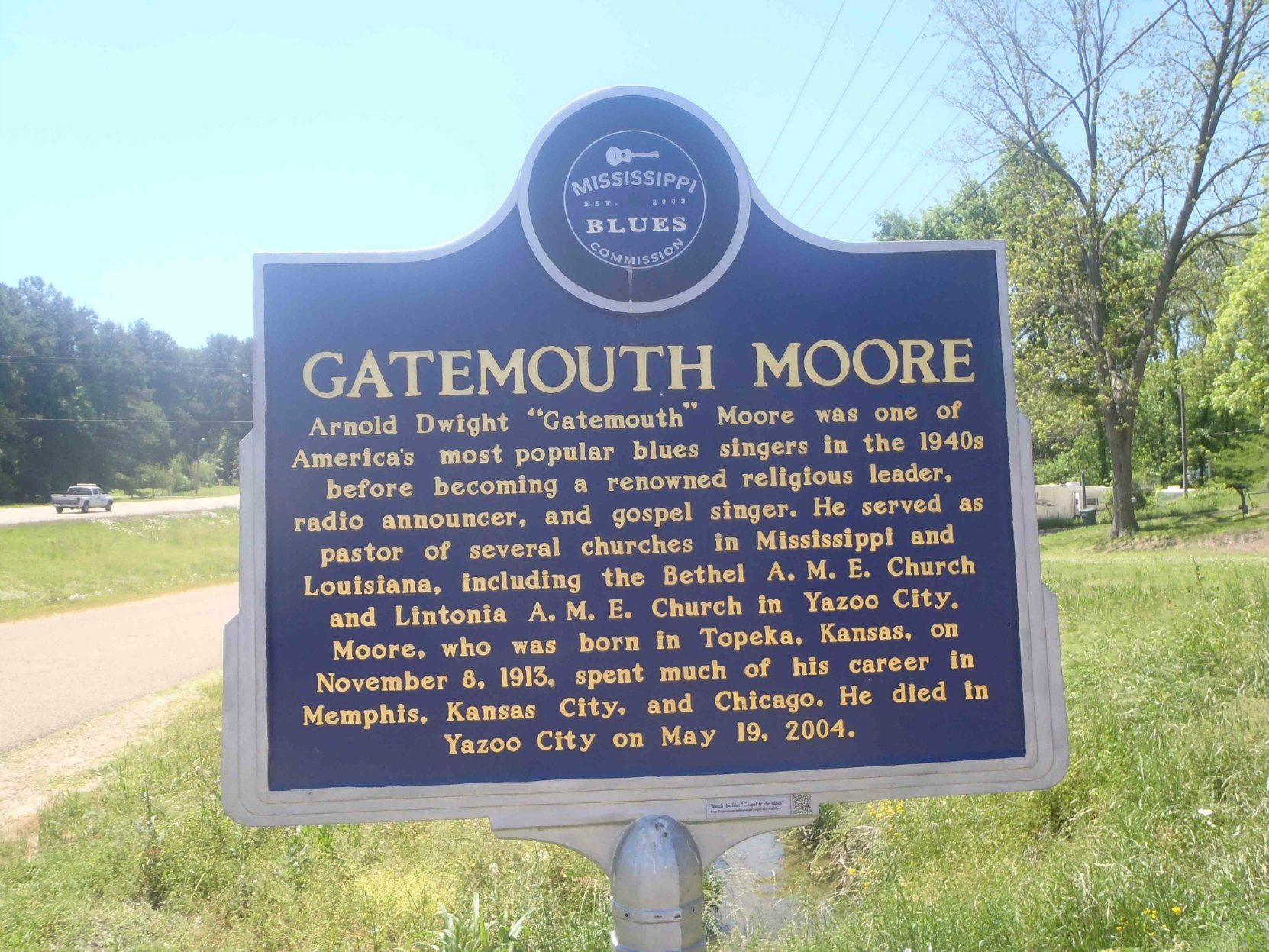 Mississippi Blues Trail marker for Gatemouth Moore, Yazoo City, Mississippi