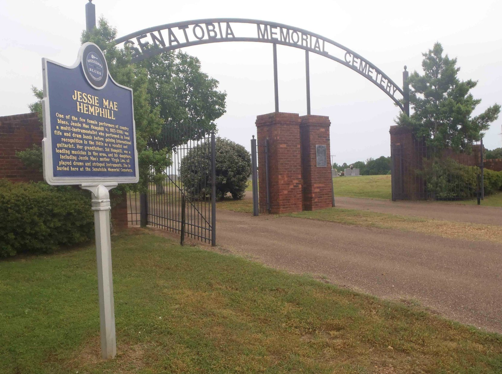 Mississippi Blues Trail marker for Jessie Mae Hemphill at the entrance to Senatobia Memorial Cemetery, Senatobia, Mississippi.