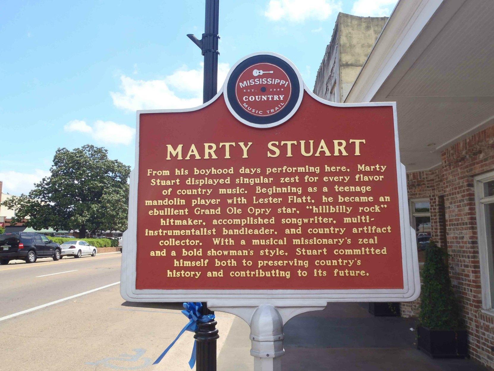 Mississippi Country Music Trail marker for Marty Stuart, Philadelphia, Neshoba County, Mississippi