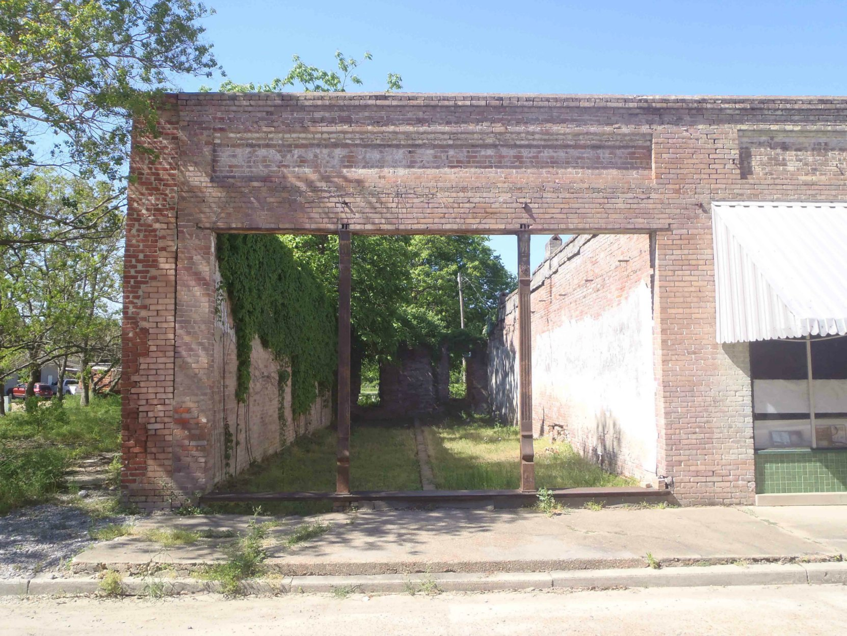 Part of a downtown building in Merigold, Mississippi.