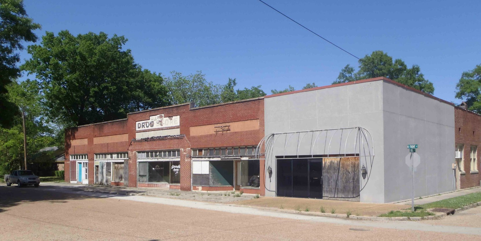 Downtown buildings in Merigold, Mississippi. This was a drug store but it is now vacant.