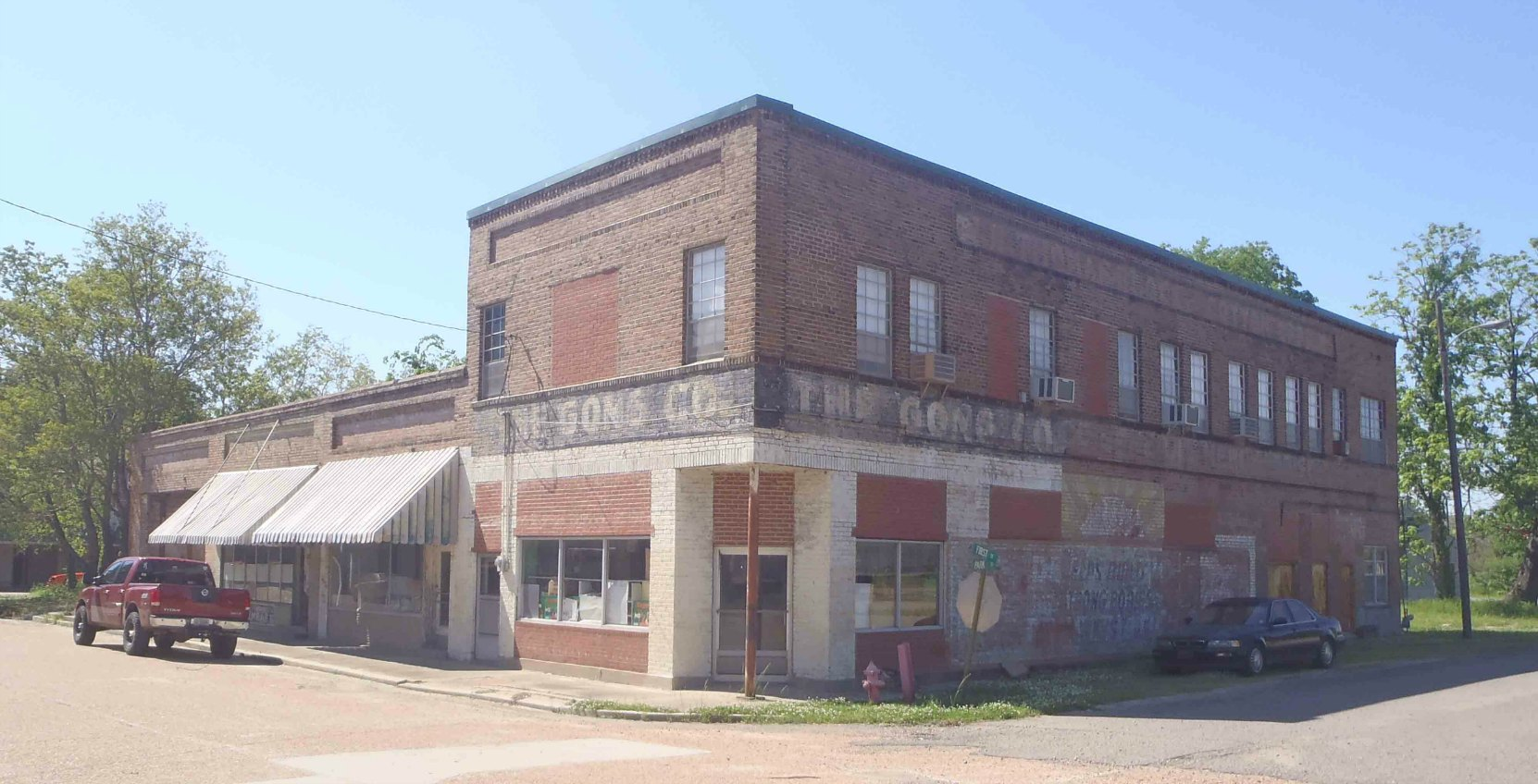 Downtown buildings in Merigold, Mississippi