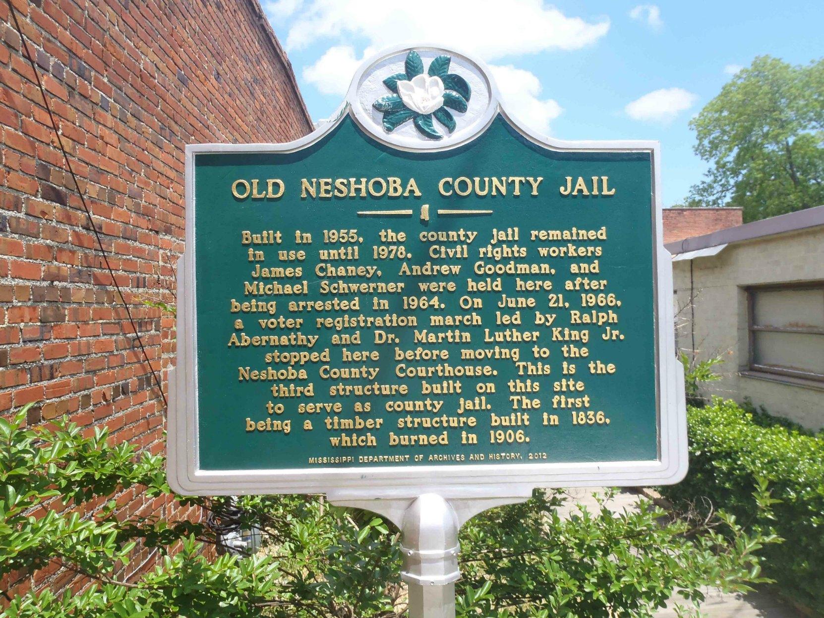 Mississippi Department of Archives & History marker for Old Neshoba County Jail, Philadelphia, Neshoba County, Mississippi.