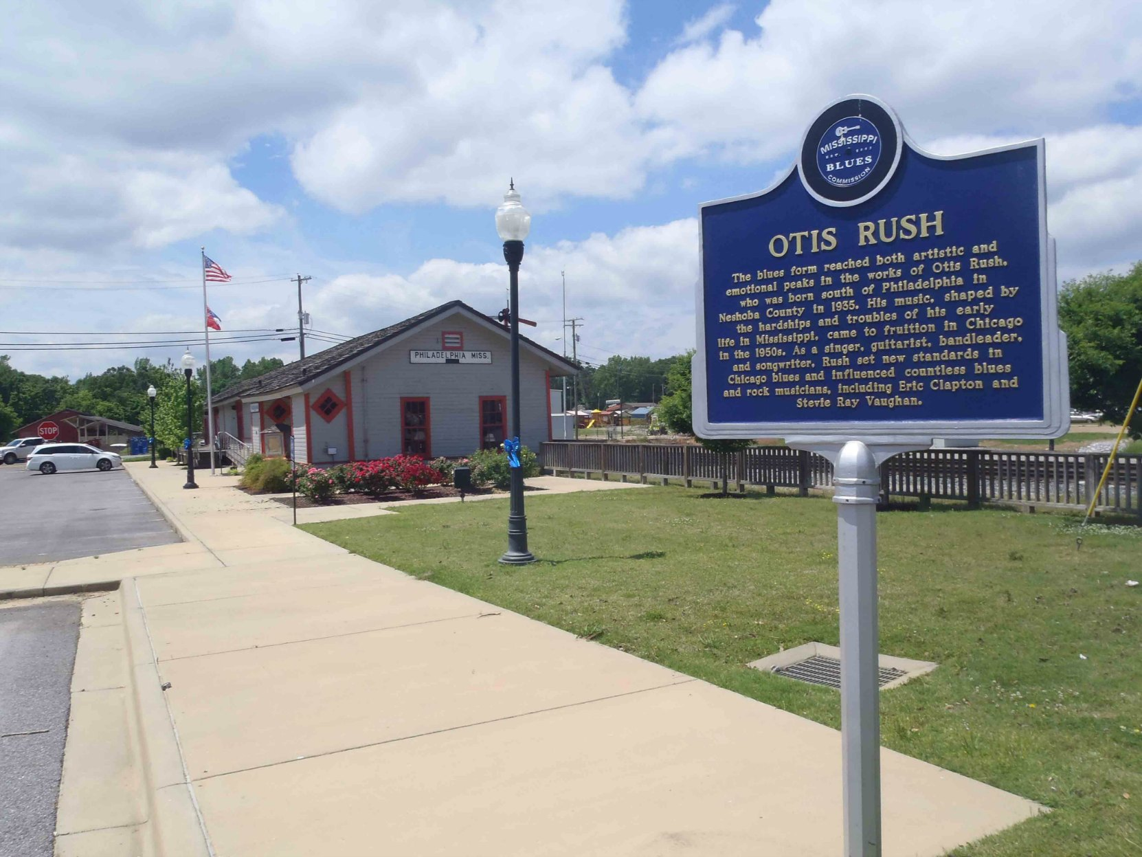 Mississippi Blues Trail marker for Otis Rush, Philadelphia, Neshoba County, Mississippi