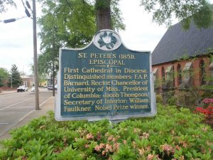Mississippi Department of Archives & History marker for St. Peter's Episcopal Church, Oxford, Mississippi. William Faulkner was a parishioner of this church.