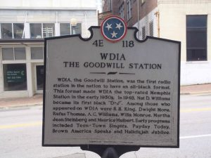Tennessee Historical Commission marker for WDIA Radio, Union Avenue, Memphis, Tennessee