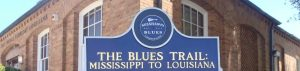 web header image showing the Mississippi Blues Trail marker in Ferriday Louisiana