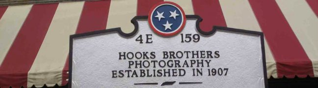 web header image showing part of the Hooks Brothers Photography sign, beale Street, memphis