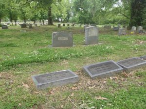 The graves of Carl Lee Cunningham (background) Jimmy King and Matthew Kelly (foreground), New Park Cemetery, Memphis, Tennessee