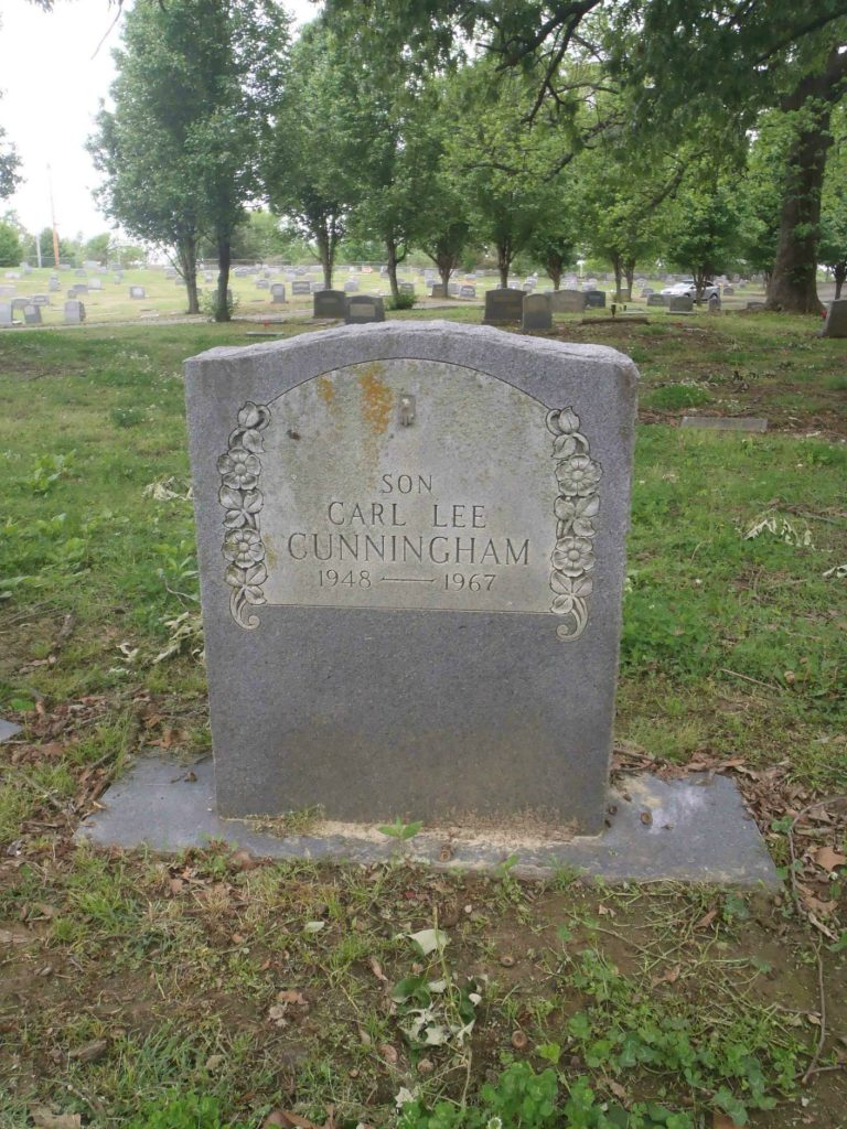 Carl Lee Cunningham grave, New Park Cemetery, Memphis, Tennessee