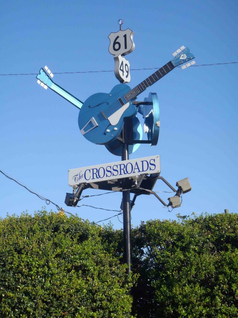 The Crossroads, the intersection of Highway 49 and Highway 61, in Clarksdale, Coahoma County. Mississippi