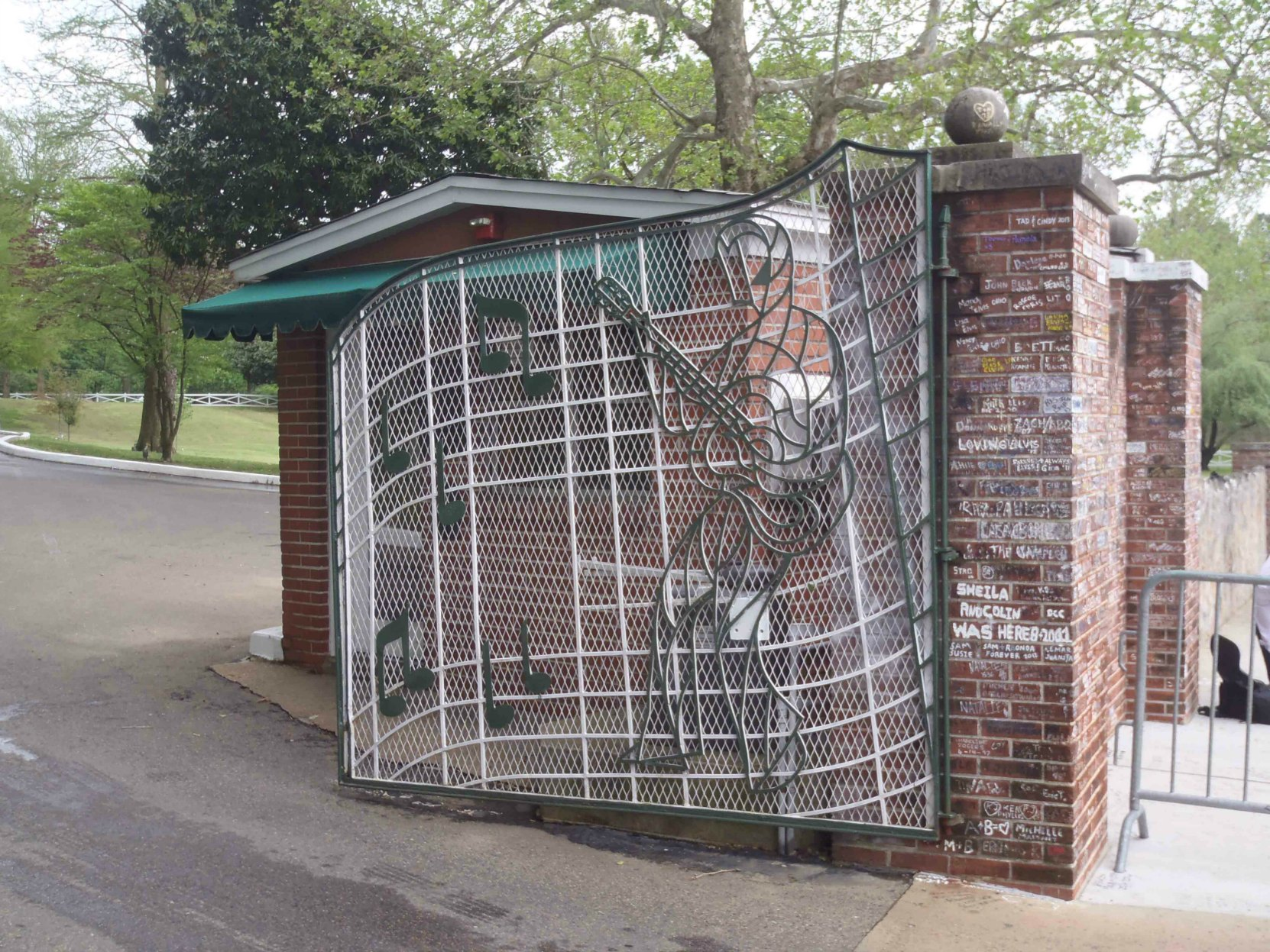 The right hand entrance gate of Graceland, Elvis Presley's home in Memphis Tennessee