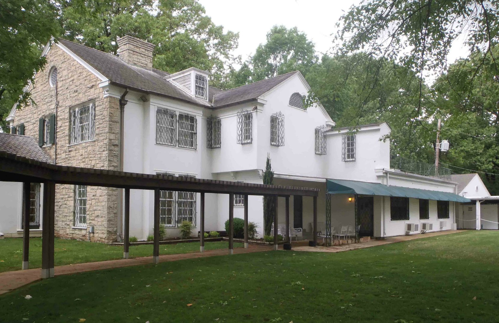 The rear of Elvis Presley's home at Graceland, Memphis, Tennessee