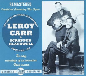 CD cover, Leroy Carr & Scrapper Blackwell-Volume 1: 1928-1934, a 4 CD box set on JSP Records
