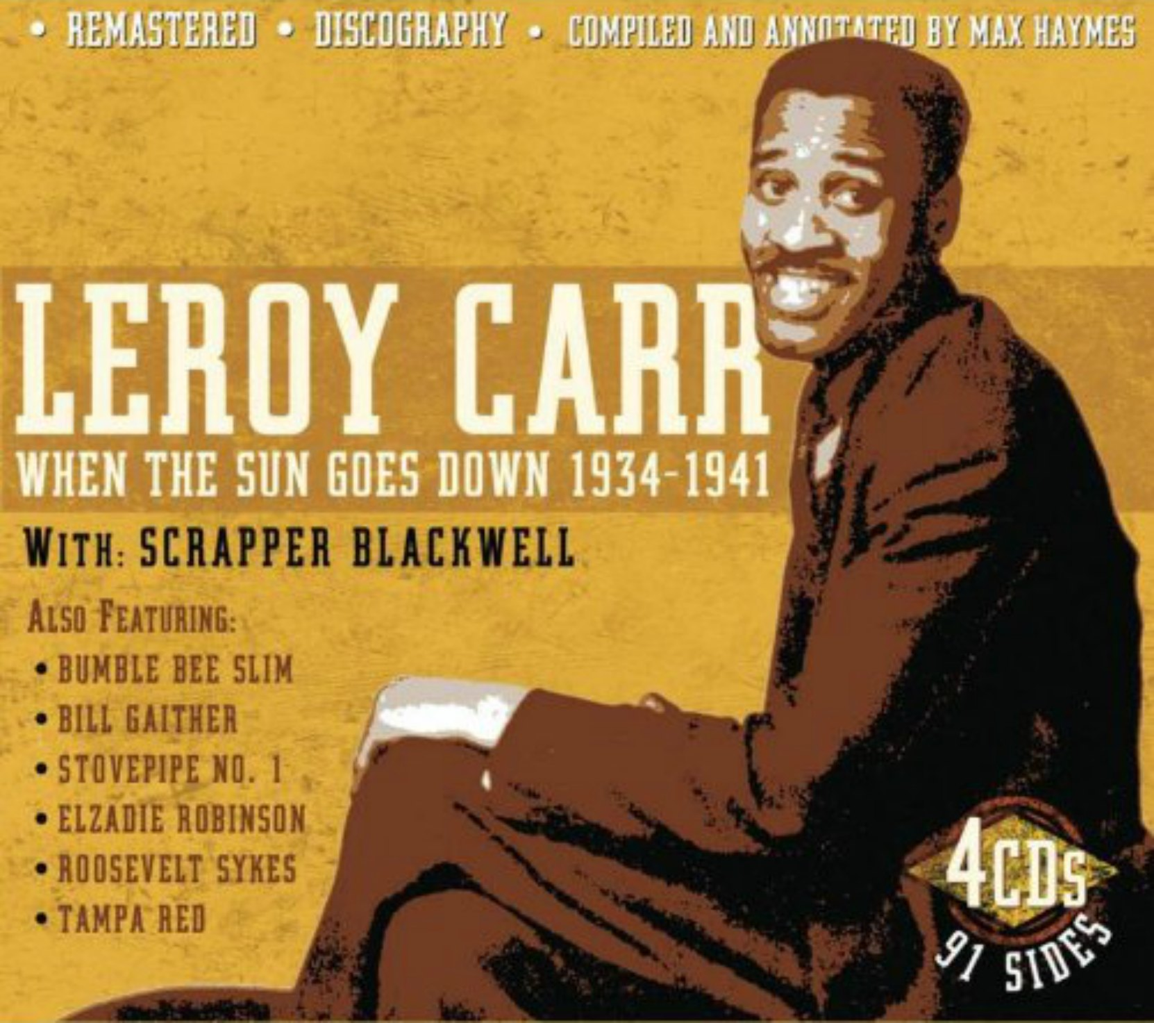 CD cover, Leroy Carr & Scrapper Blackwell- When The Sun Goes Down 1934-1941, a 4 CD box set on JSP Records