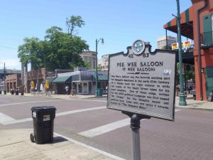 Tennessee Historical Commission marker for Pee Wee Saloon, Beale Street, Memphis
