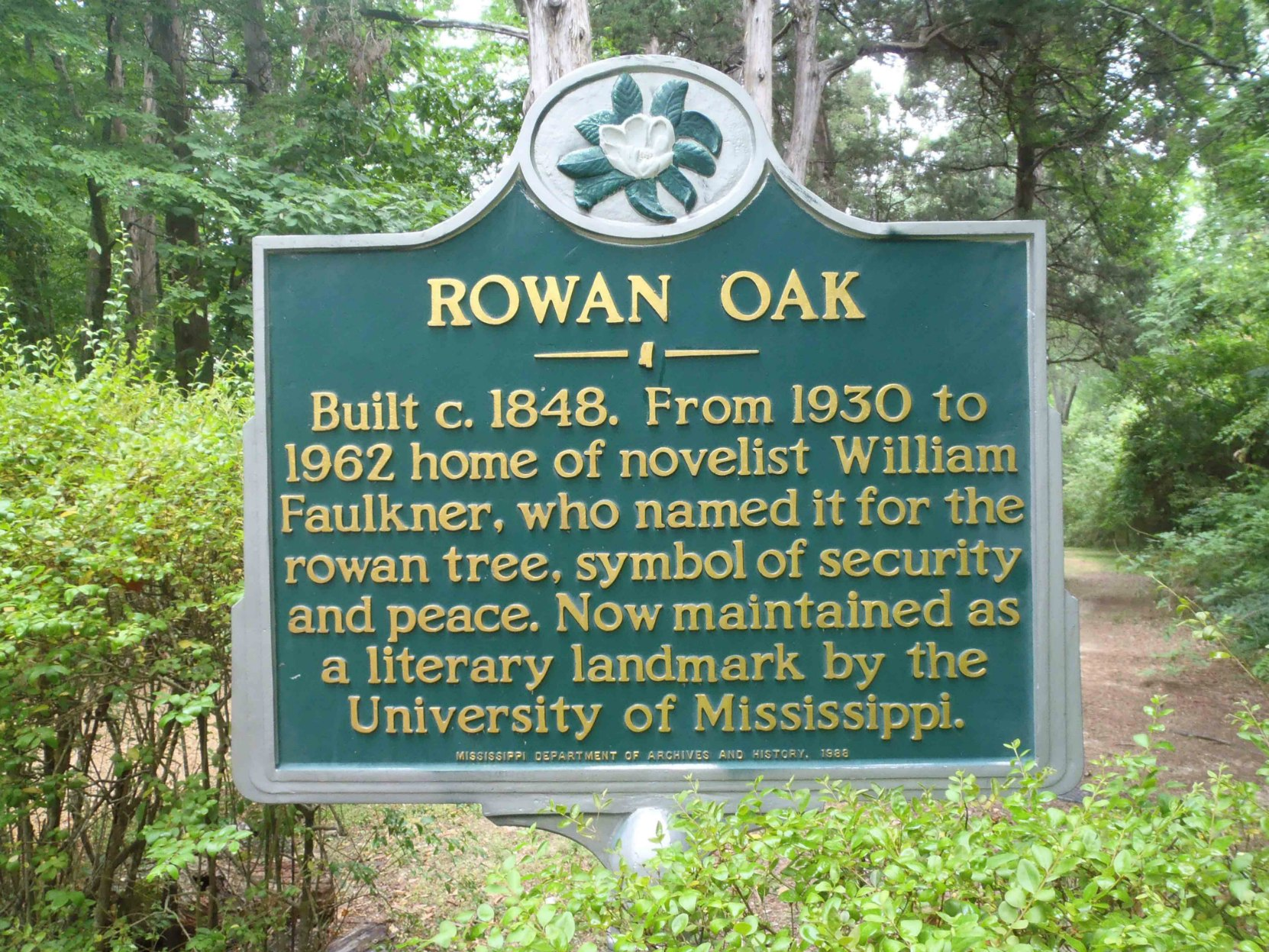 Mississippi Department of Archives & History marker at the entrance to Rowan Oak, William Faulkner's home from 1930 until his death in 1962.