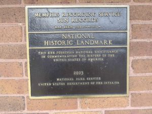 U.S. National Parks Service commemorative marker designating the Memphis Recording Service, Sun Records and Sun Studio at 706 Union Avenue, Memphis, Tennessee as a National Historic Landmark.