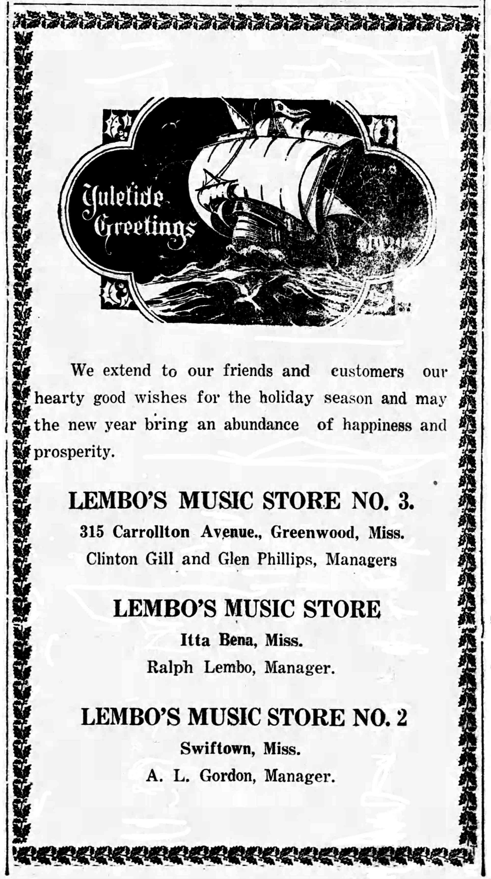 Ralph Lembo Music Store advertisement in Greenwood Commonwealth, December 1928