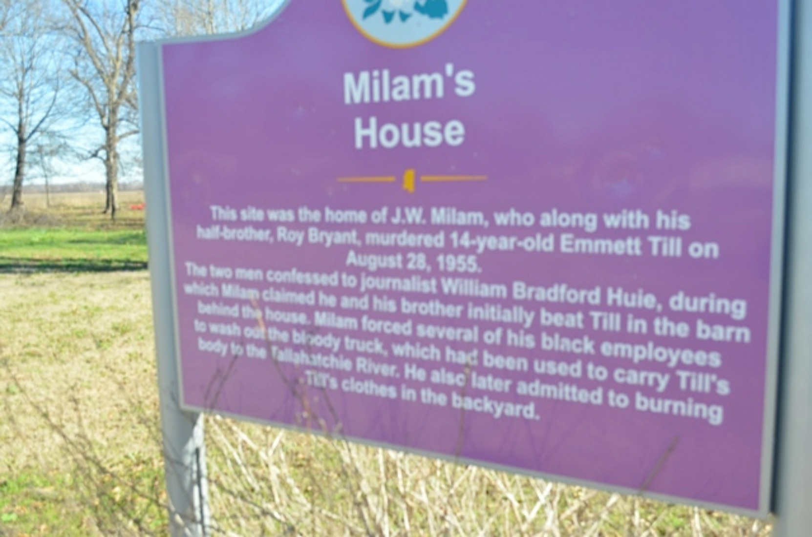 Milam's House sign, at the site of the former house of J.W. Milam, one of the two men who murdered Emmett Till in August 1955, Glendora, Mississippi (courtesy of Keith Petersen)
