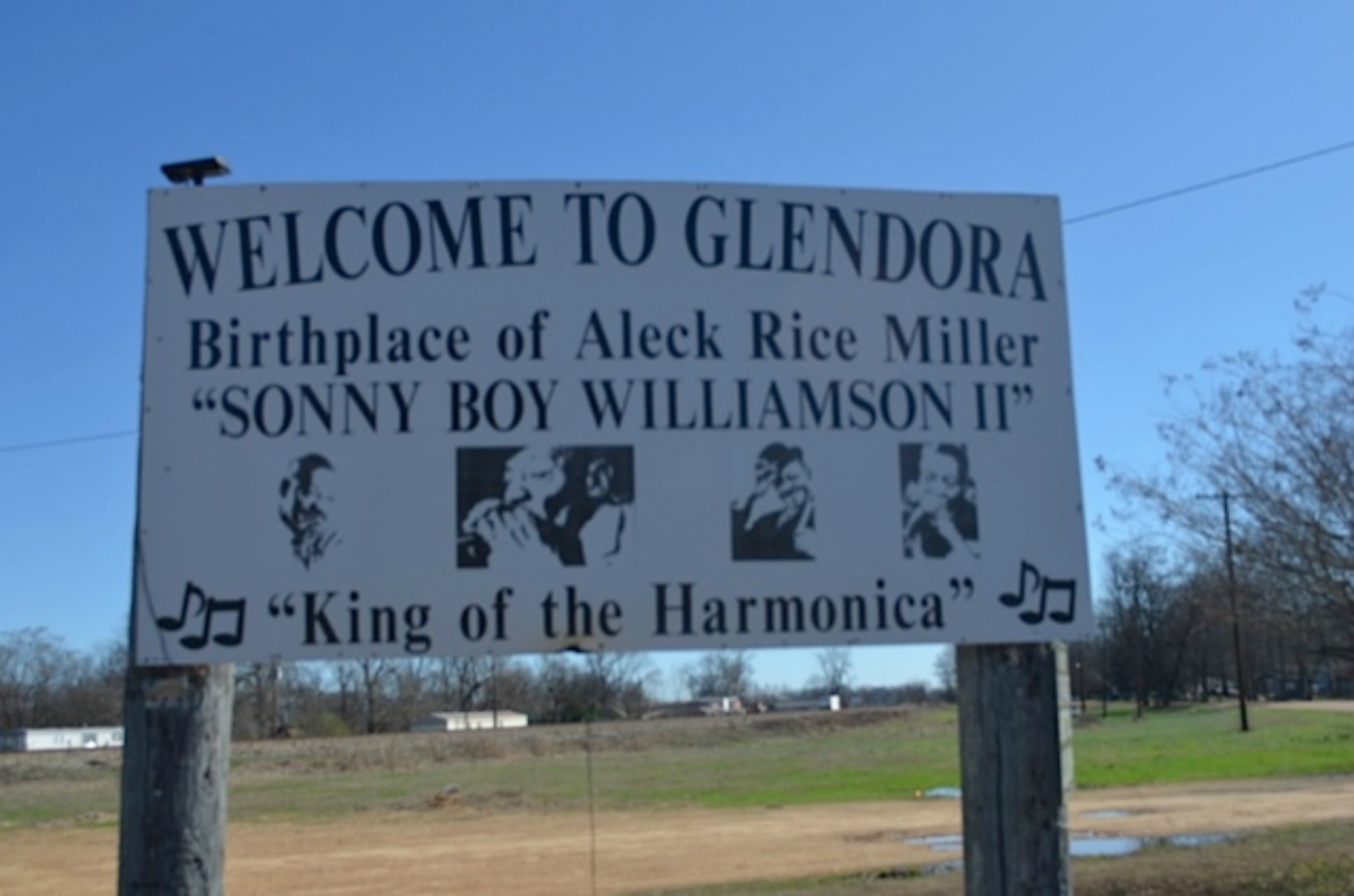 Sonny Boy Williamson Birthplace sign, Glendora, Mississippi (courtesy of Keith Petersen)