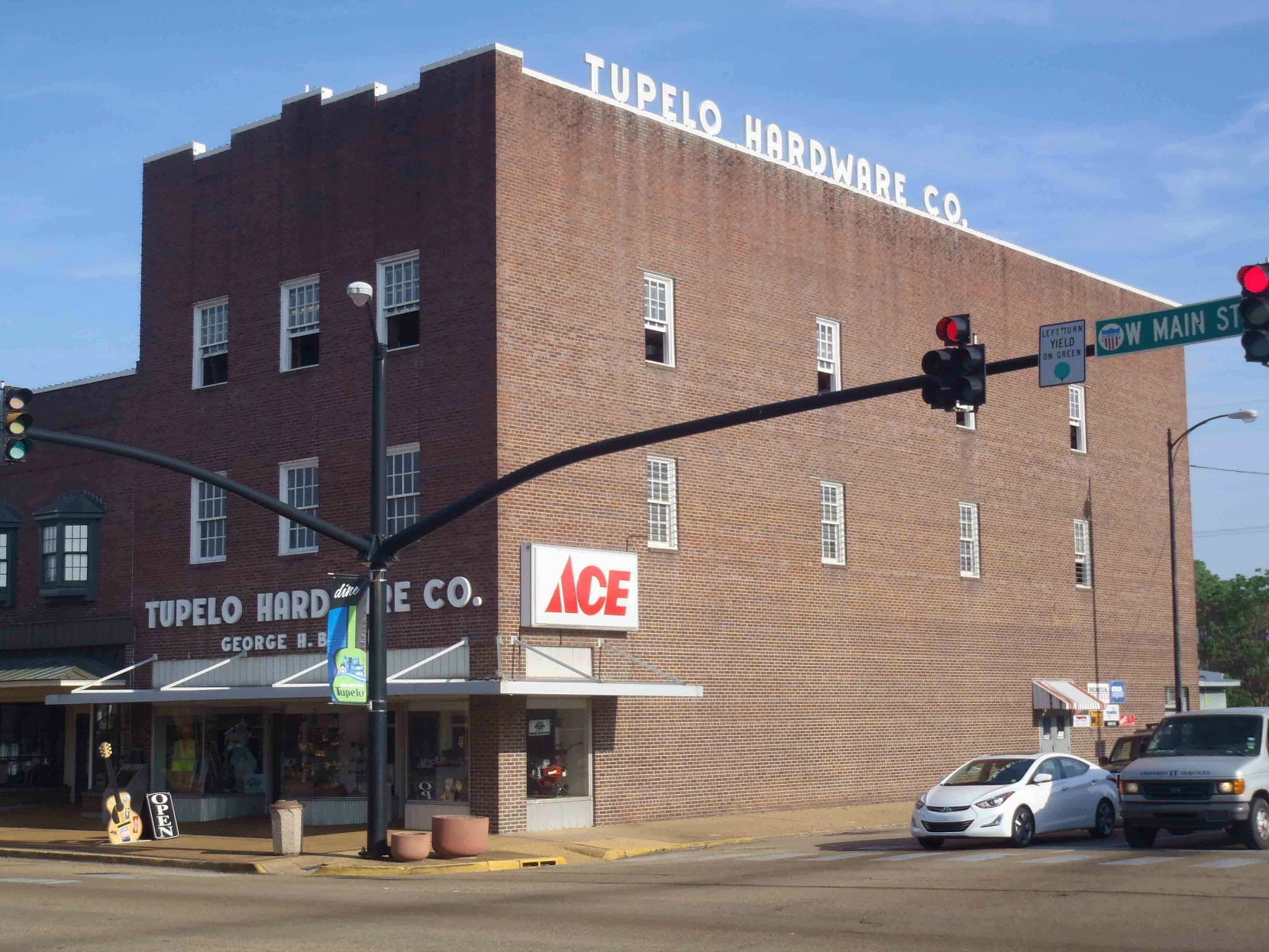 Tupelo Hardware Company, W. Main Street, Tupelo, Mississippi, where Elvis Presley bought his first guitar. (photo by Mississippi Blues Travellers)