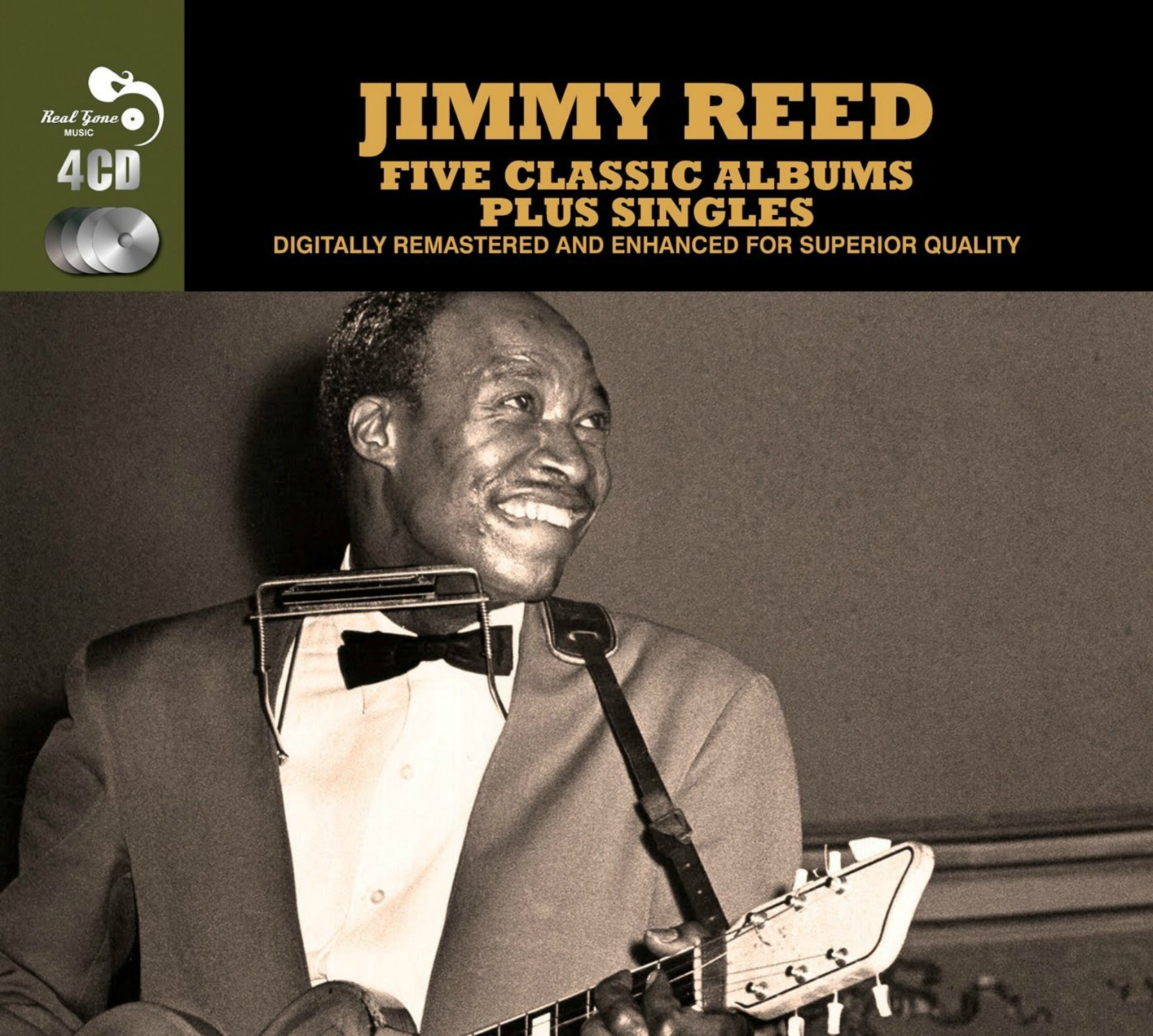 CD cover, Jimmy Reed, Five Classic Albums Plus Singles, a 4 CD set released by Real Gone Music Company