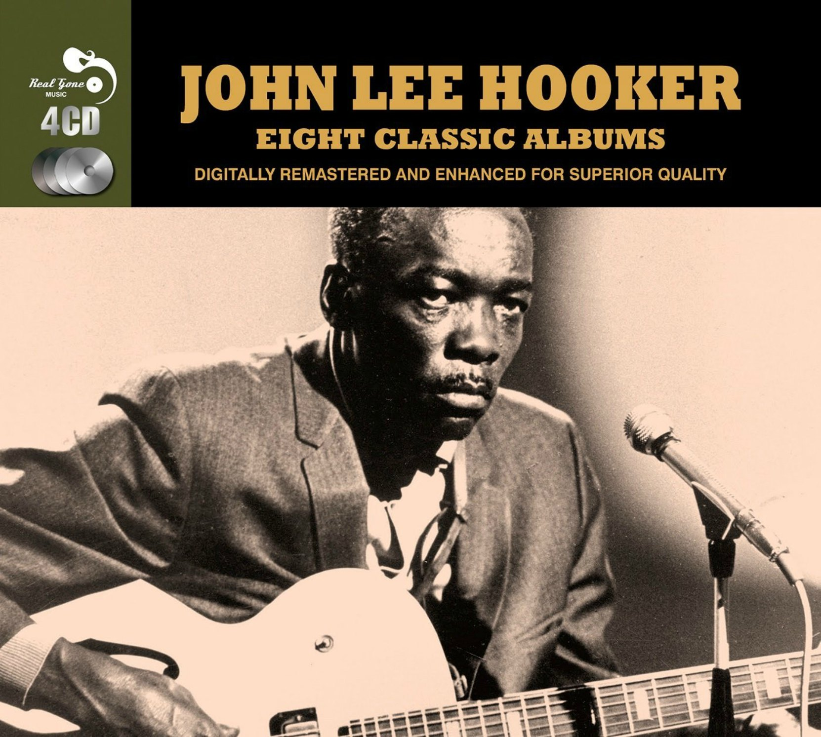 CD cover, John Lee Hooker, Eight Classic Albums, a 4 CD set released by Real Gone Music Company