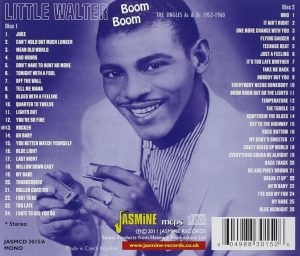 CD cover (reverse side), Little Walter - Boom Boom: The Singles As & Bs 1952-1960, on Jasmine Records.