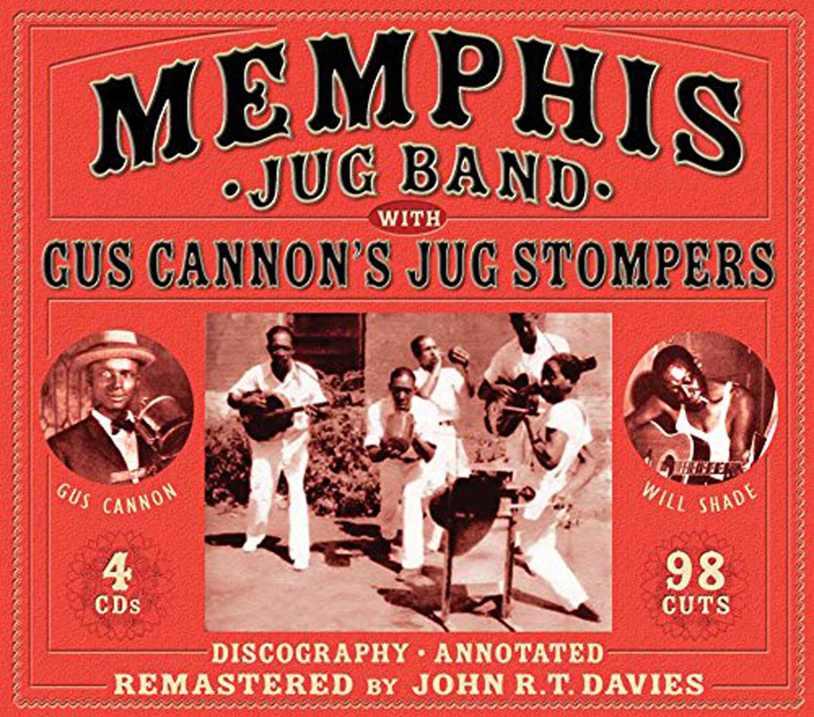 Memphis Jug Band & Gus Cannon's Jug Stompers, a 4CD, 98 track box set, released by JSP Records, CD cover