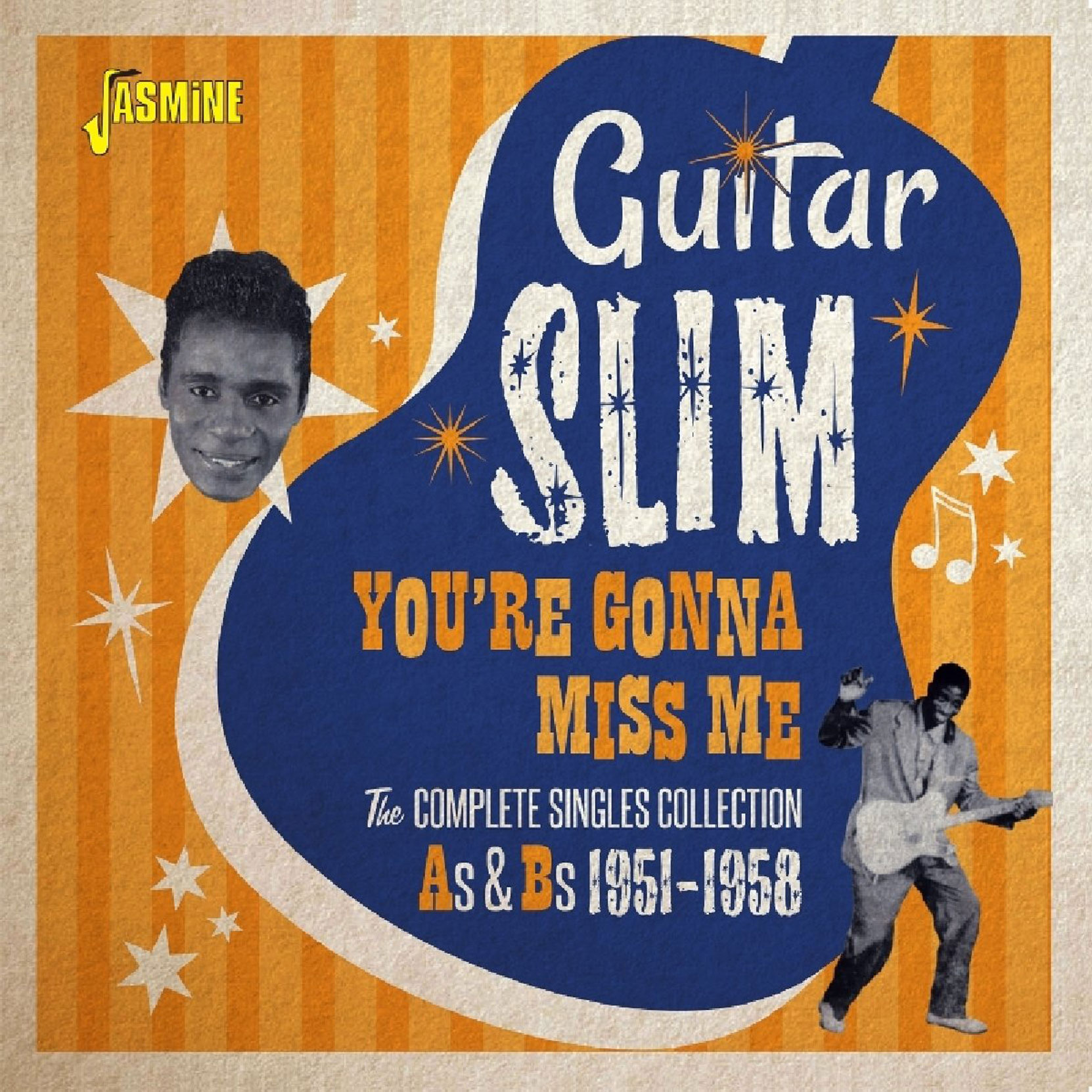 Guitar Slim - You're Gonna Miss Me: The Complete Singles Collection As & Bs 1951-1958, released on Jasmine Records. CD cover.