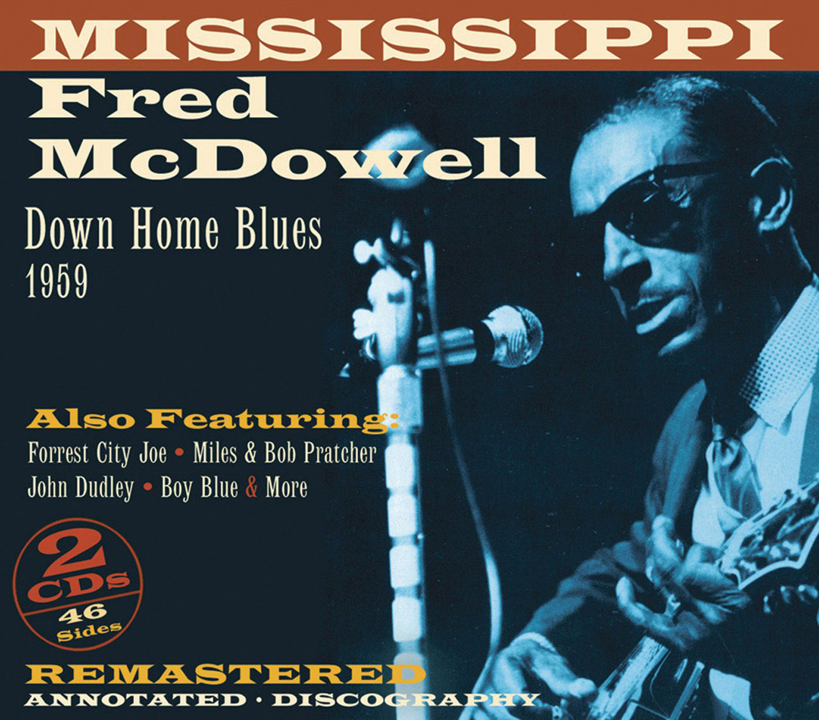 CD cover, Down Home Blues 1959 by Mississippi Fred McDowell, on JSP Records. This 2 CD set contains the complete 1959 Alan Lomax recordings of Mississippi Fred McDowell.