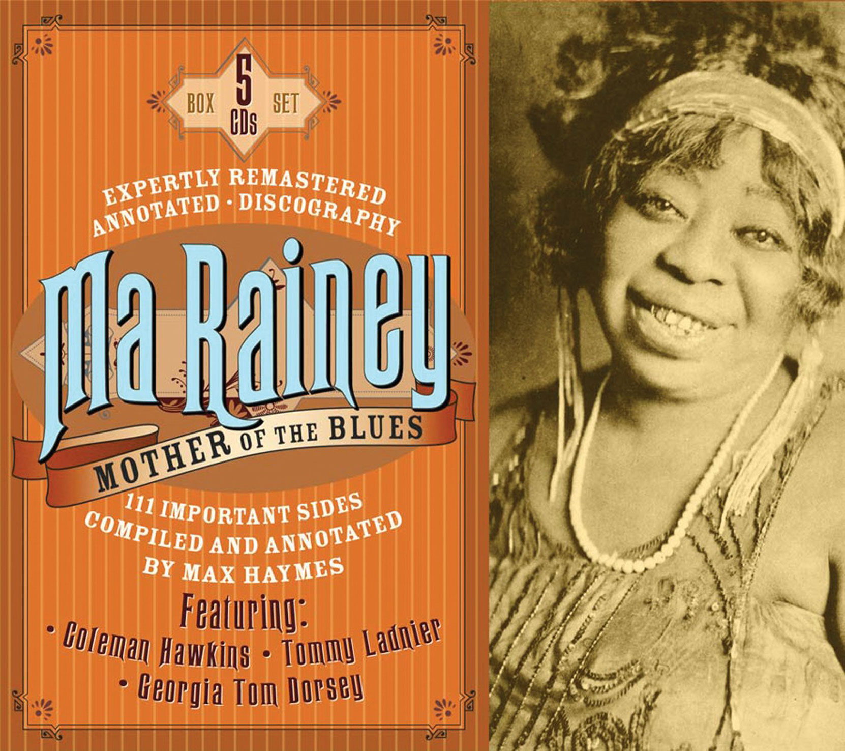 CD cover, Ma Rainey, Mother of the Blues, a 5 CD box set released onJSP Records.