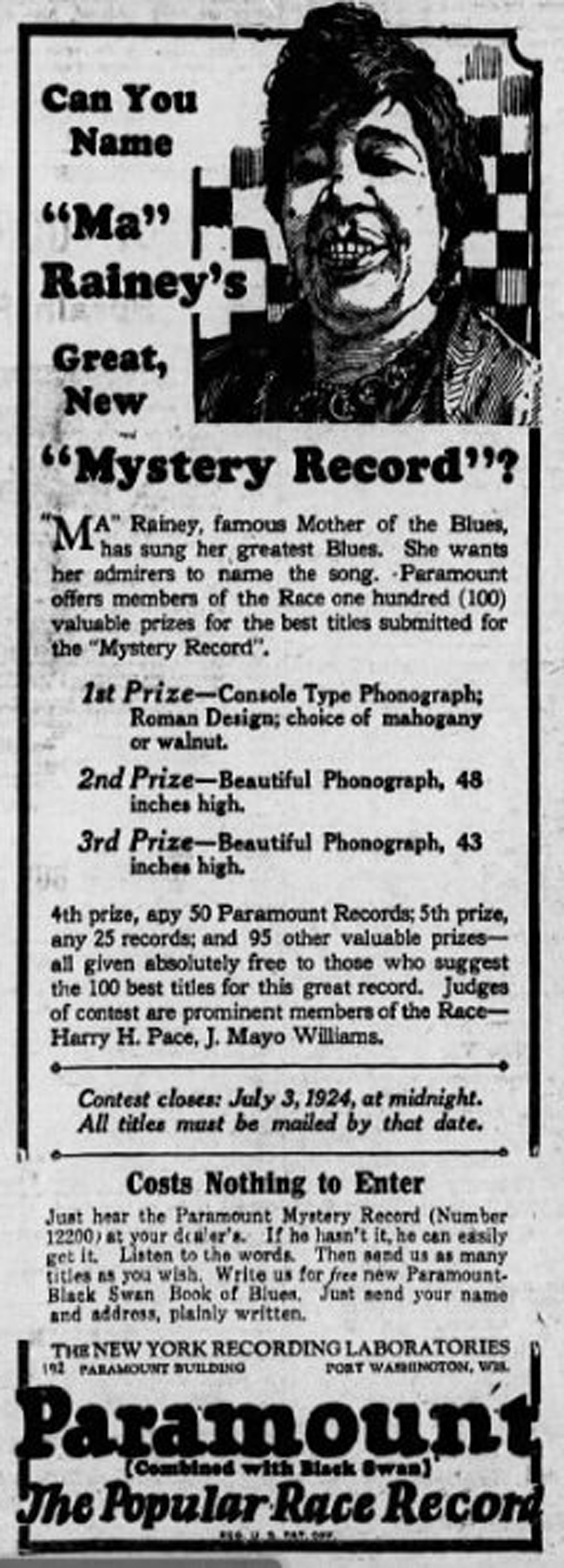 A 1924 advertisement for Ma Rainey recordings in the New York Age. (Courtesy of Mt. Zion Memorial Fund)